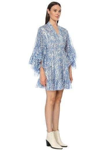 NetWork Kadın 1075569 Slim Fit Silver V Yaka Desenli Mini Elbise Mavi